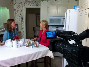 On the set of Catholic Mom's Cafe.